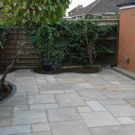 A customers patio built